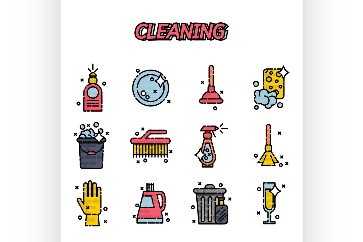 Cleaning flat icons set example image 1