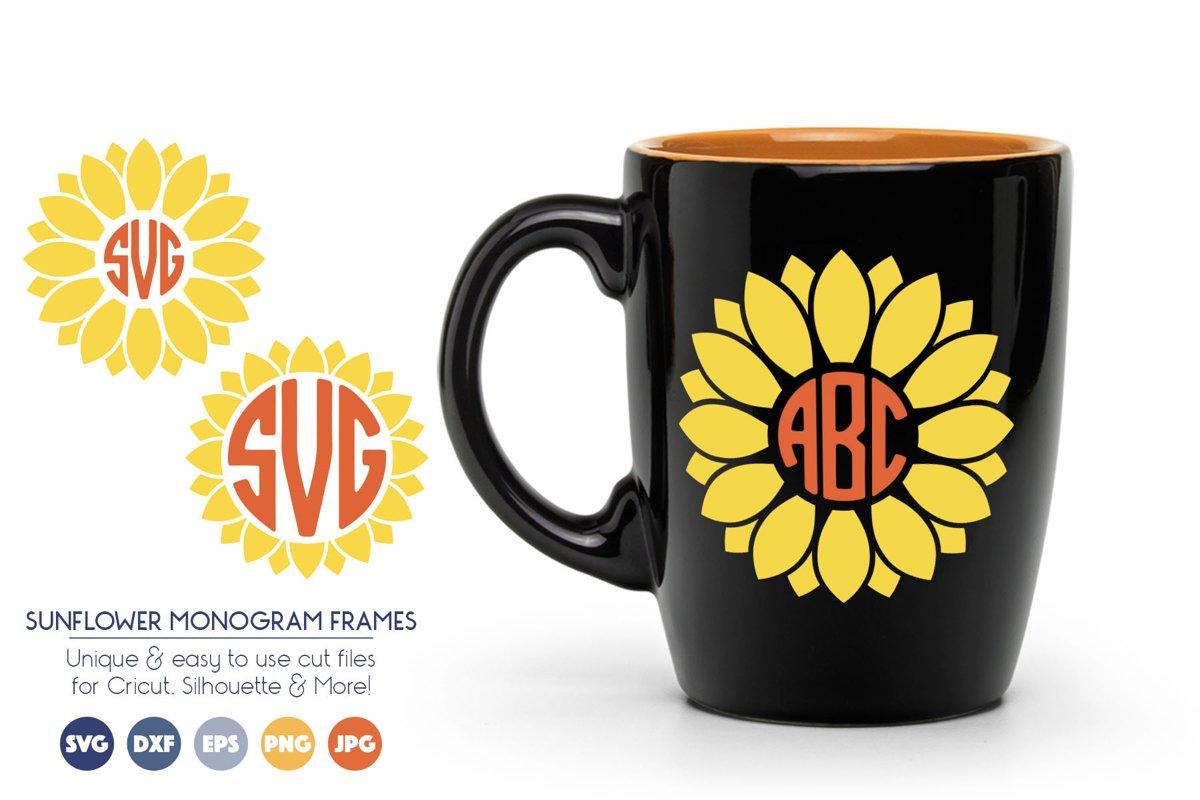 Sunflower Monogram Frame SVG Cut Files example image 1