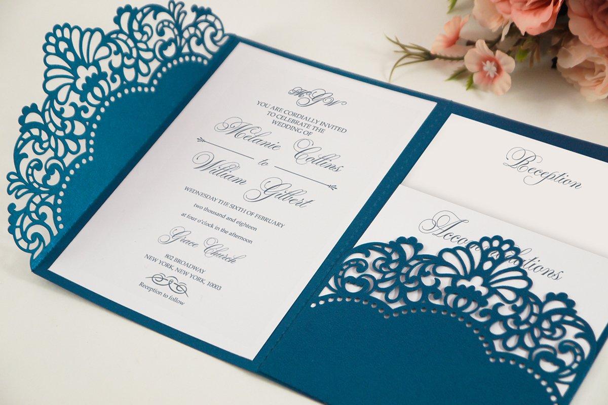 Laser cut wedding invitation, 5x7, Cricut Template, Tri Fold example image 1