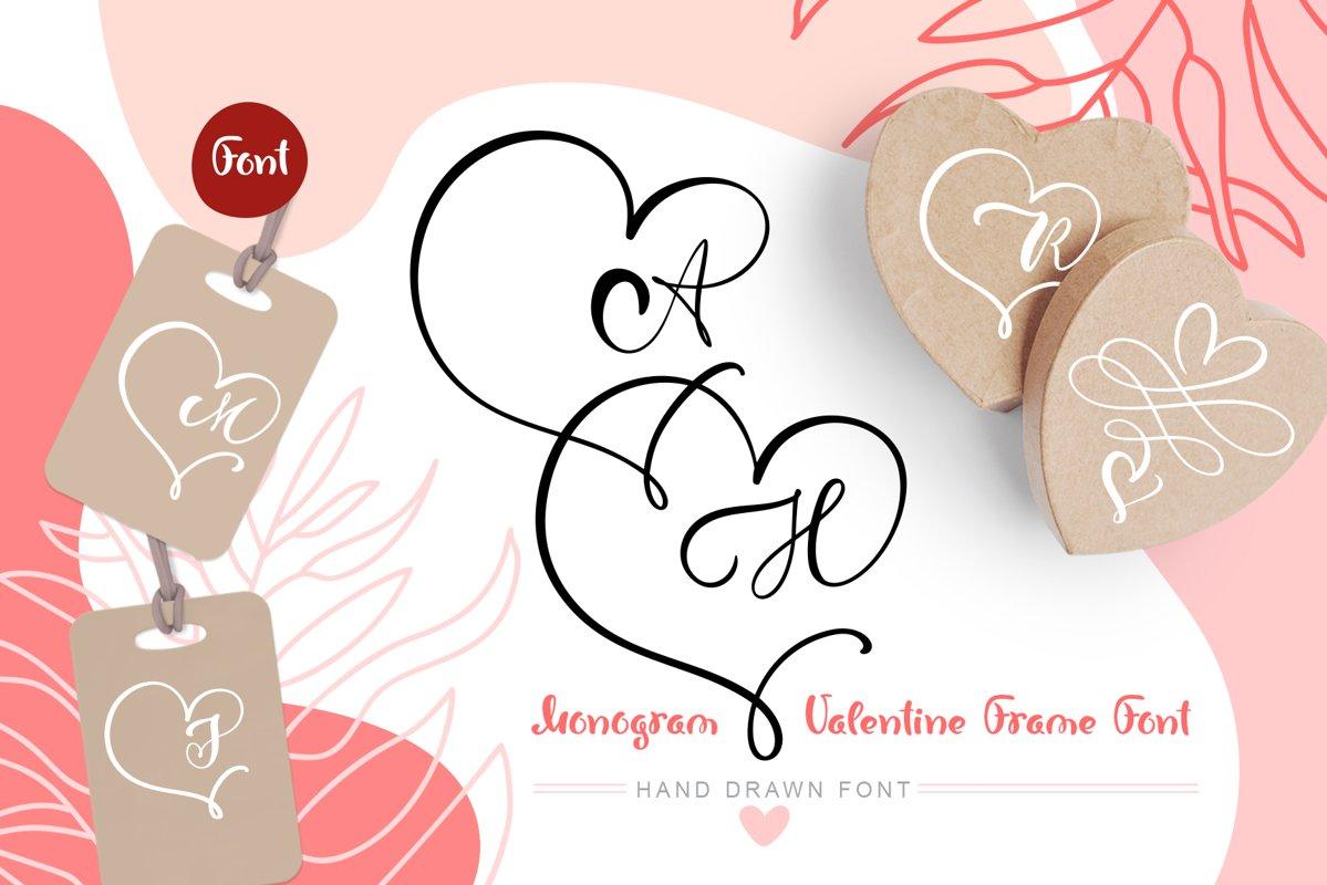Monogram Heart Flourish Font example image 1