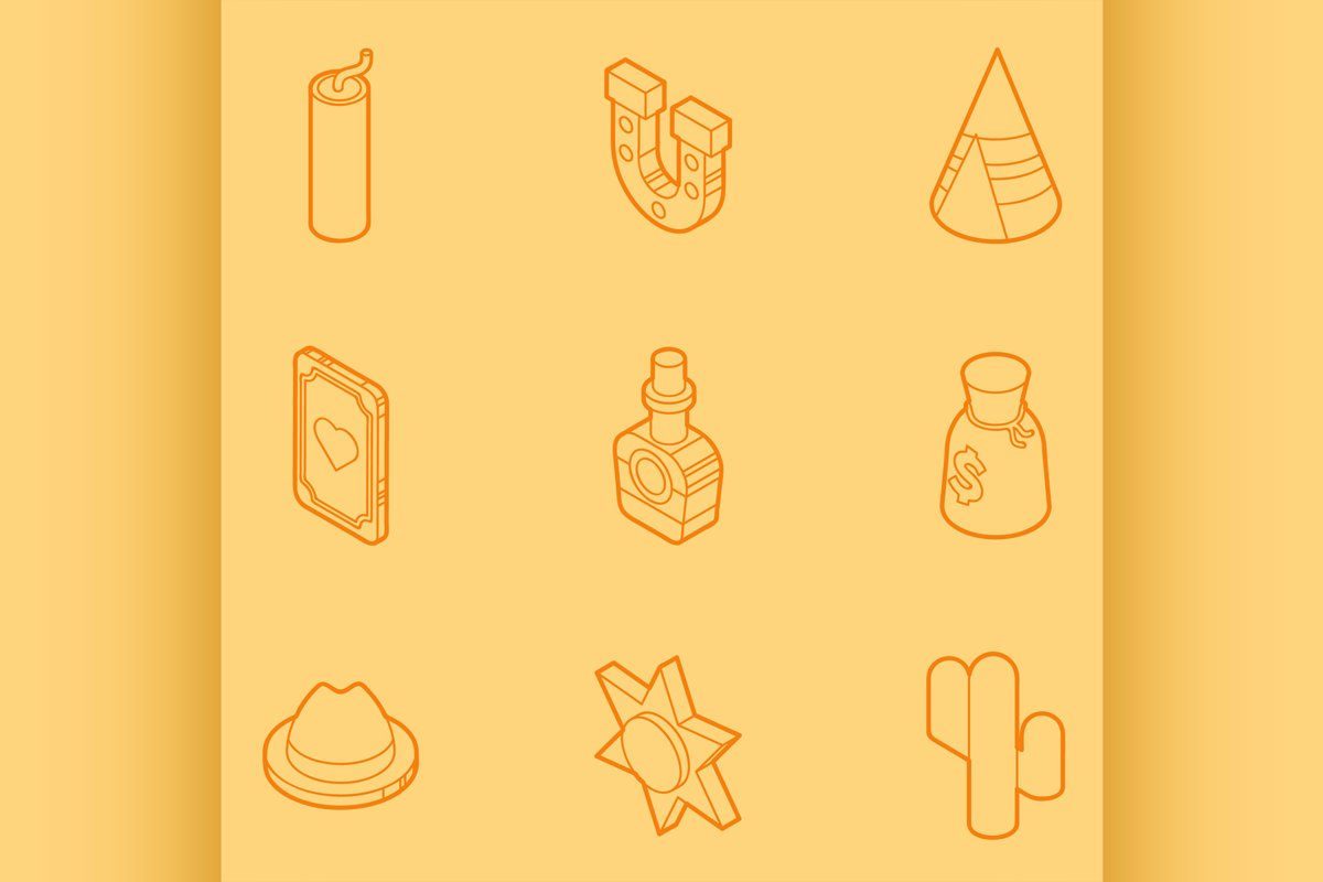 Wild west color outline isometric icons example image 1