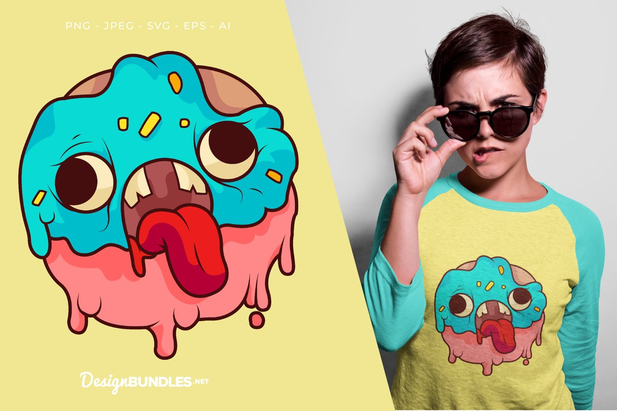 Blue Pink Donut Monster Vector Illustration For T-Shirt example image 1