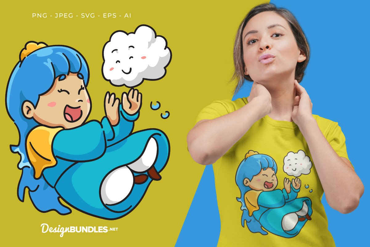 Princess and Cute Cloud Vector Illustration For T-Shirt example image 1