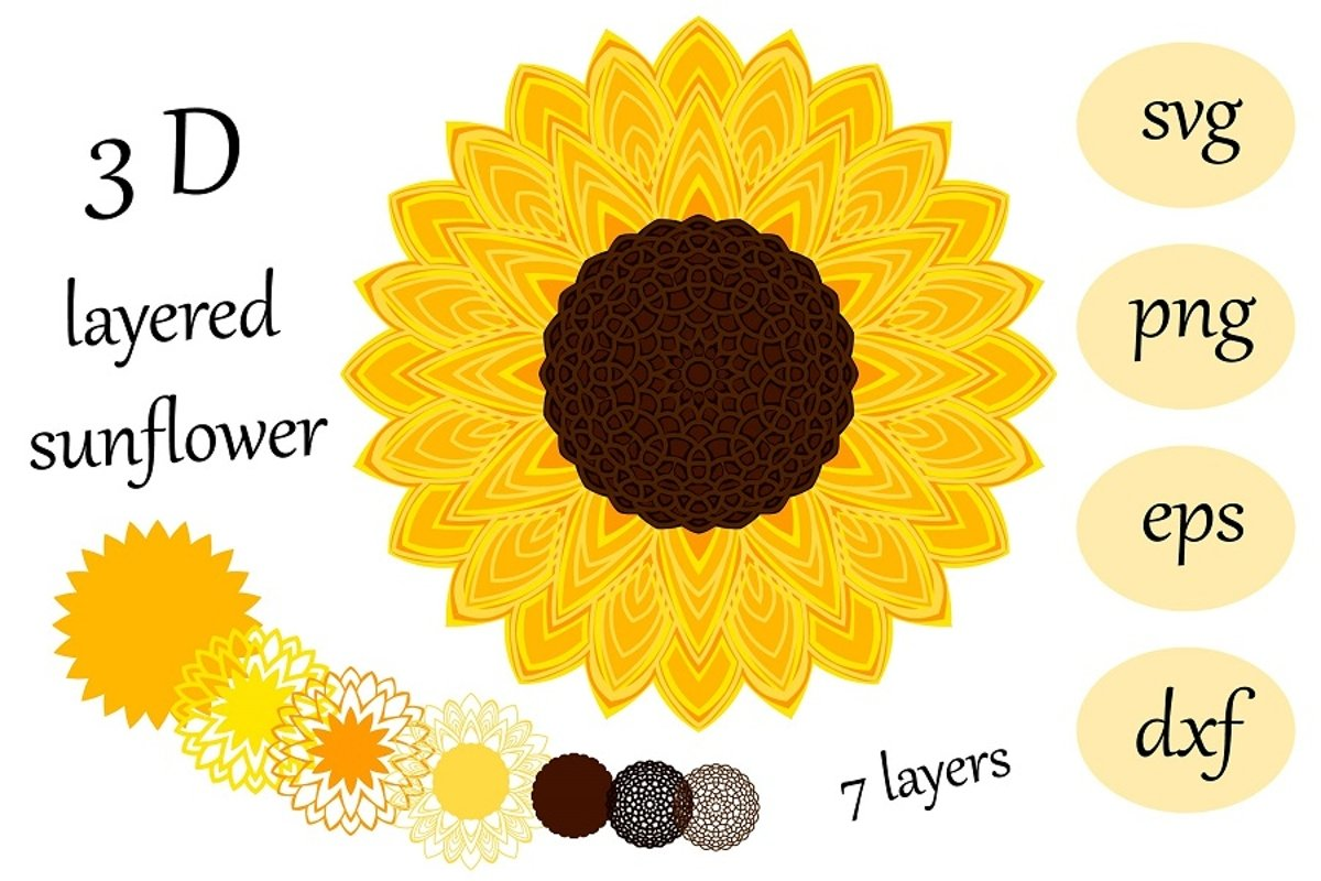 3 D layered sunflower Mandala svg cut file example image 1
