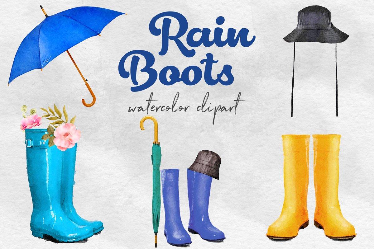 Watercolor Rain Boots Clipart, Wellington Boots example image 1
