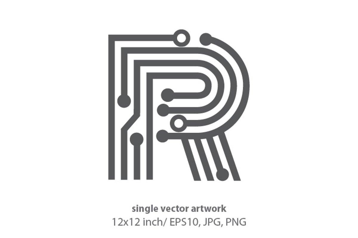 digital letter r- single vector artwork example image 1