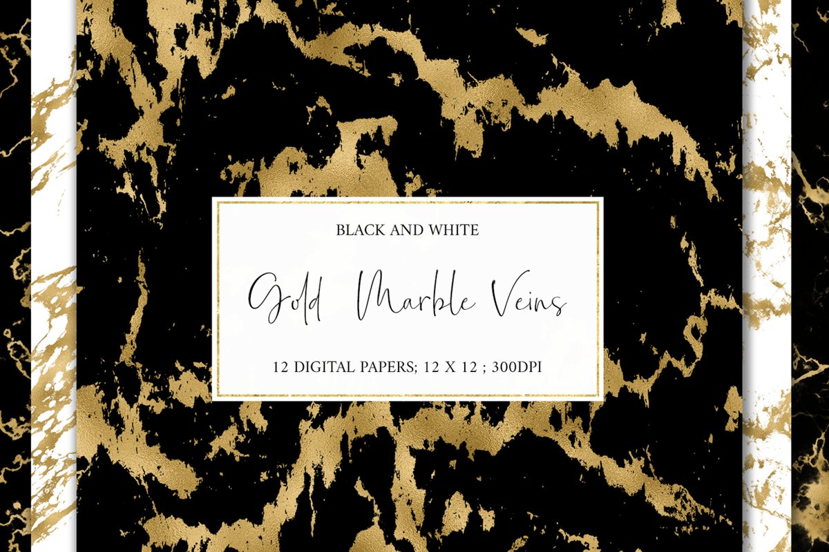 Gold Marble Veins Digital Paper Backgrounds Textures Pattern example image 1
