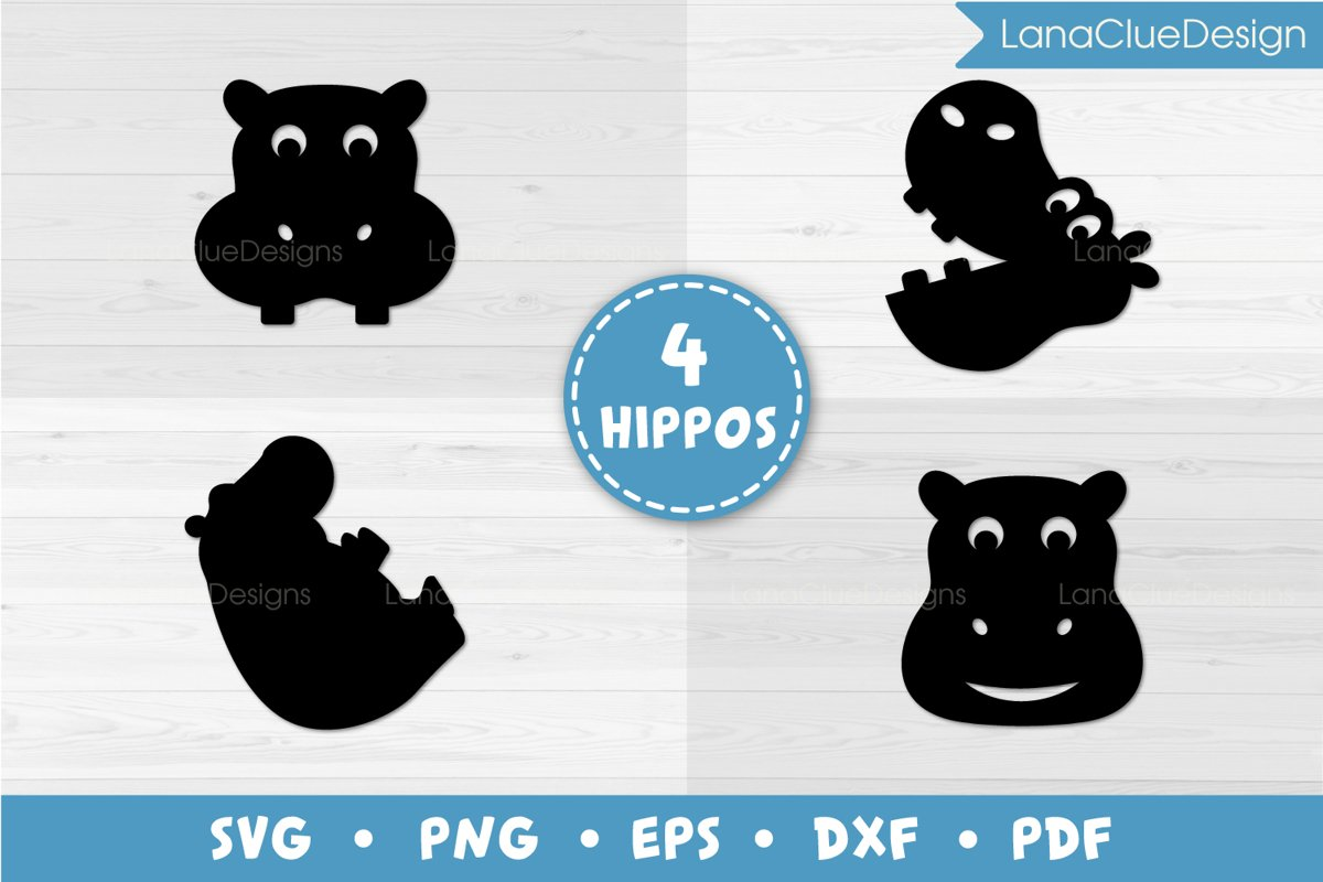 4 Hippos SVG Cut Files example image 1