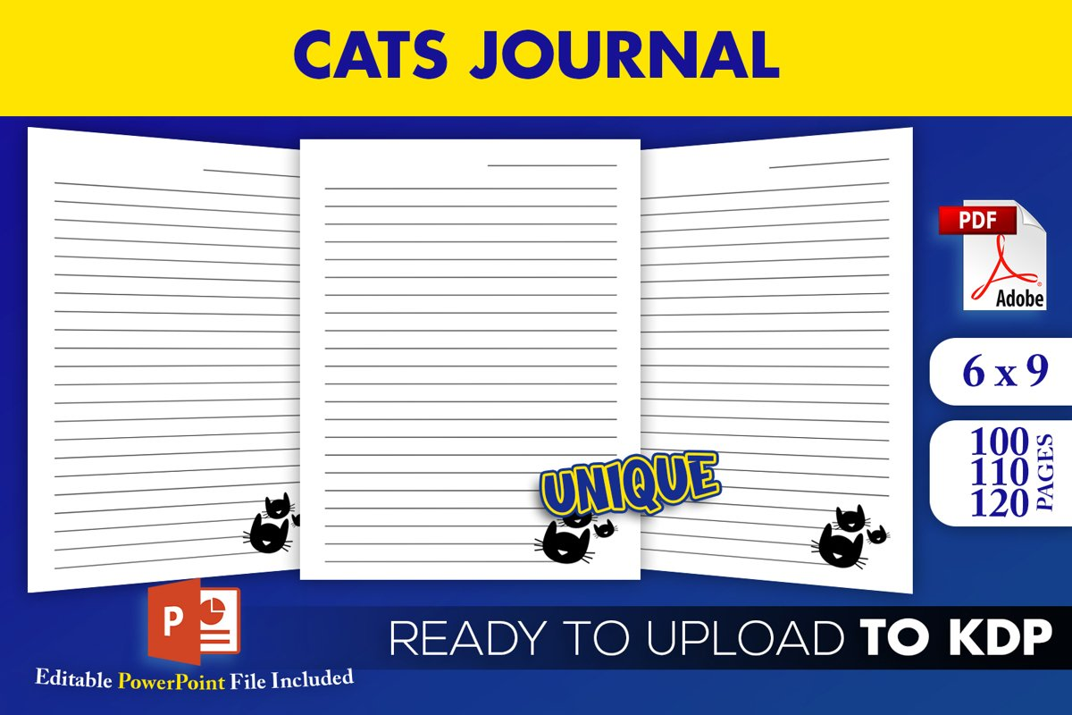 Cats Journal Editable PowerPoint Template KDP Interior 6x9 example image 1