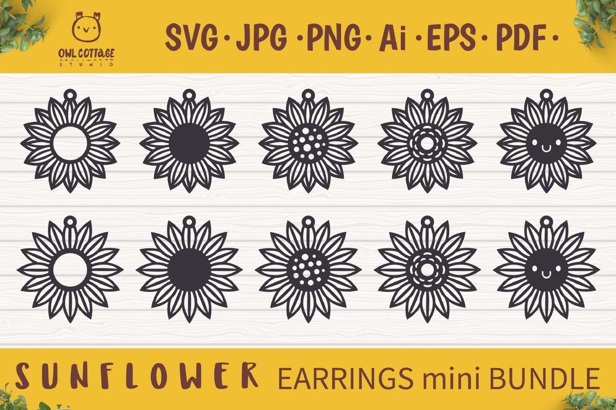 Sunflower Earrings mini SVG Bundle, Sunflower Clipart, Earri example image 1