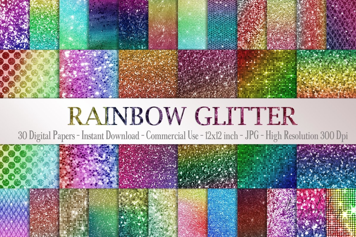 30 Rainbow Shimmering Fairy Unicorn Glitter Digital Papers example image 1