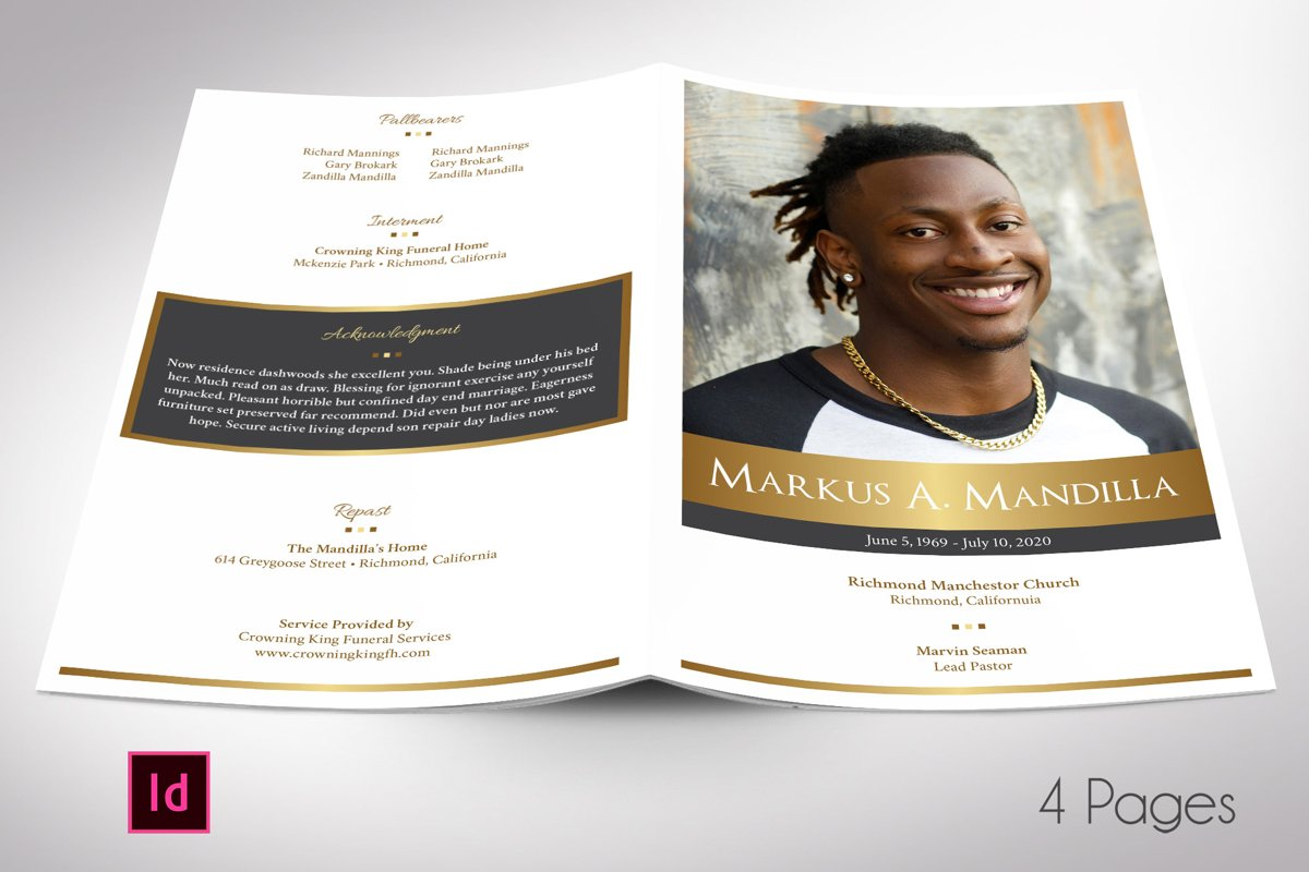 Kings Funeral Program Indesign Template | 4 Pages example image 1