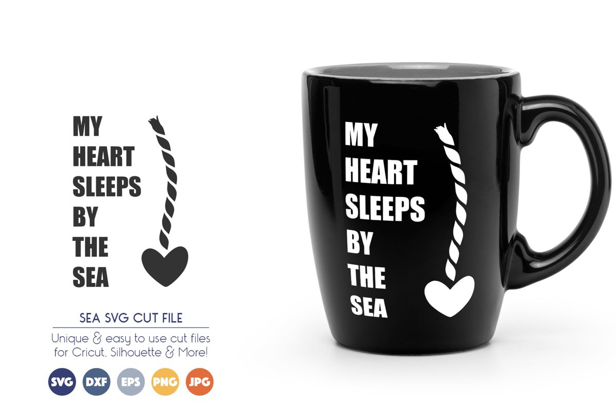 Summer SVG Cut Files - My Heart Sleeps By the Sea example image 1