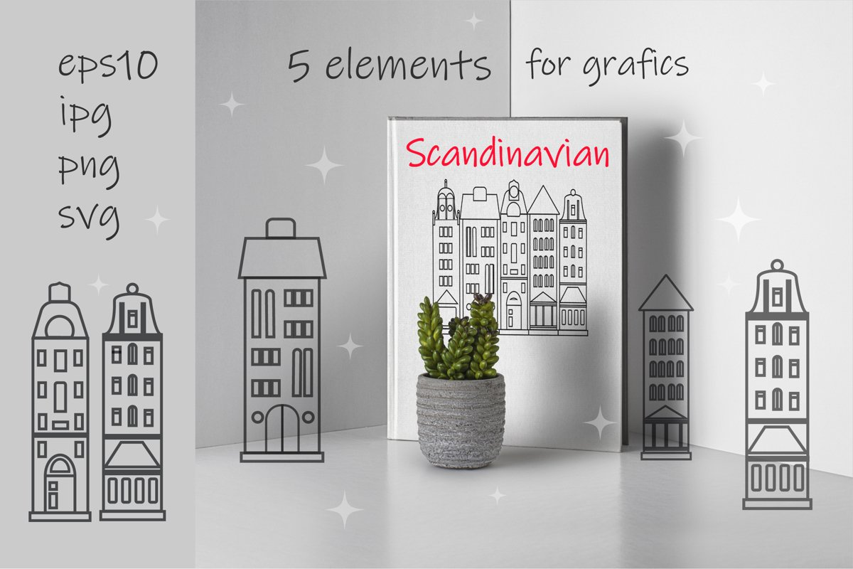 Scandinavian houses SVG. Black graphics of the Nordic style example image 1