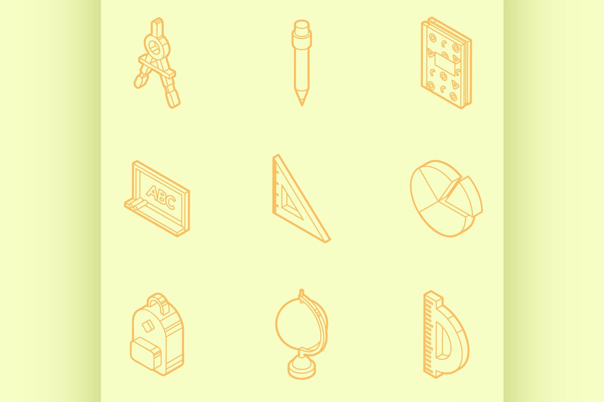 Shopping color outline isometric icons example image 1
