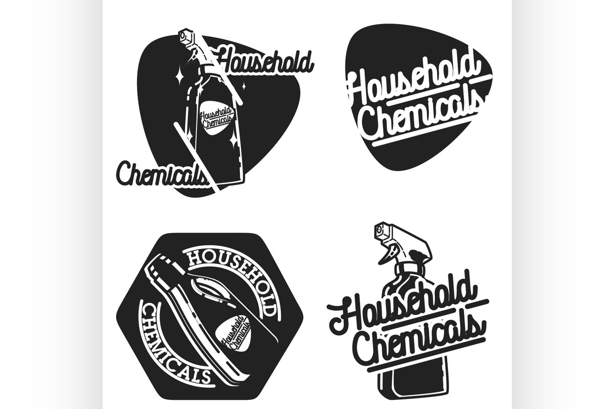 Color vintage household chemicals emblems example image 1