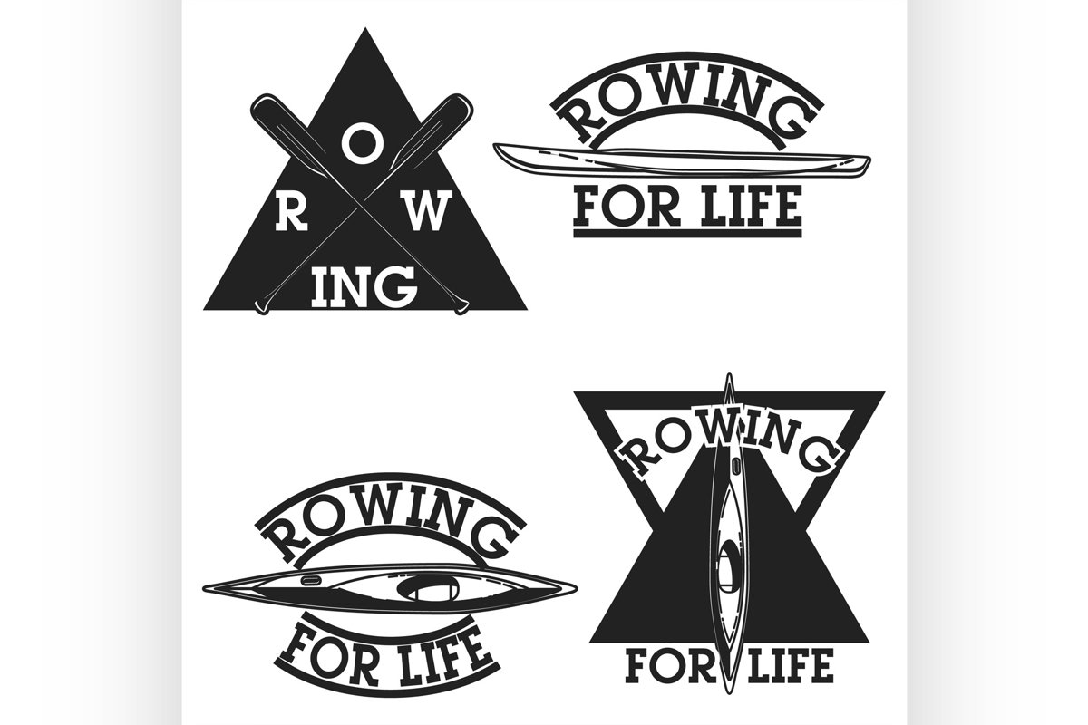 Color vintage rowing emblems example image 1