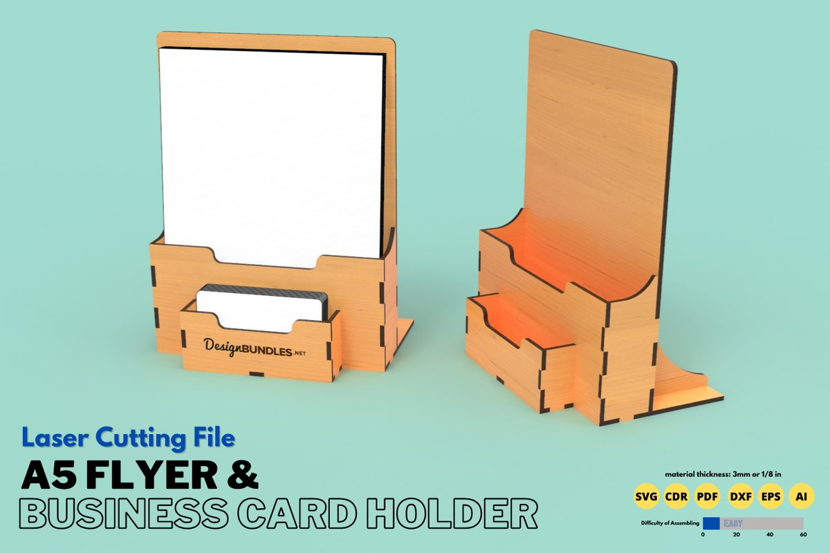 Download A5 Flyer Business Card Holder Laser Cutting File