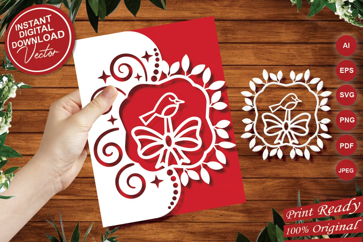 Papercut Cute Bird Invitation Card Cover with Spiral and Bow example image 1