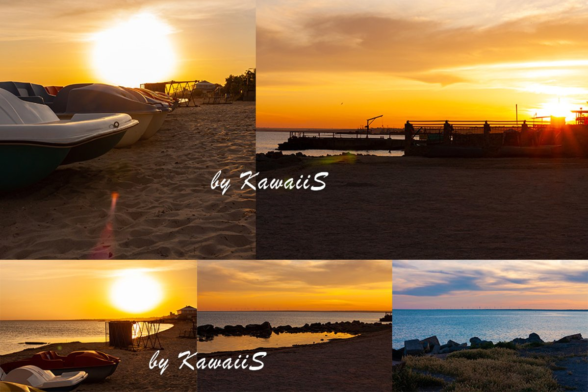 Colorful sunset on empty sea beach with sport catamarans example image 1