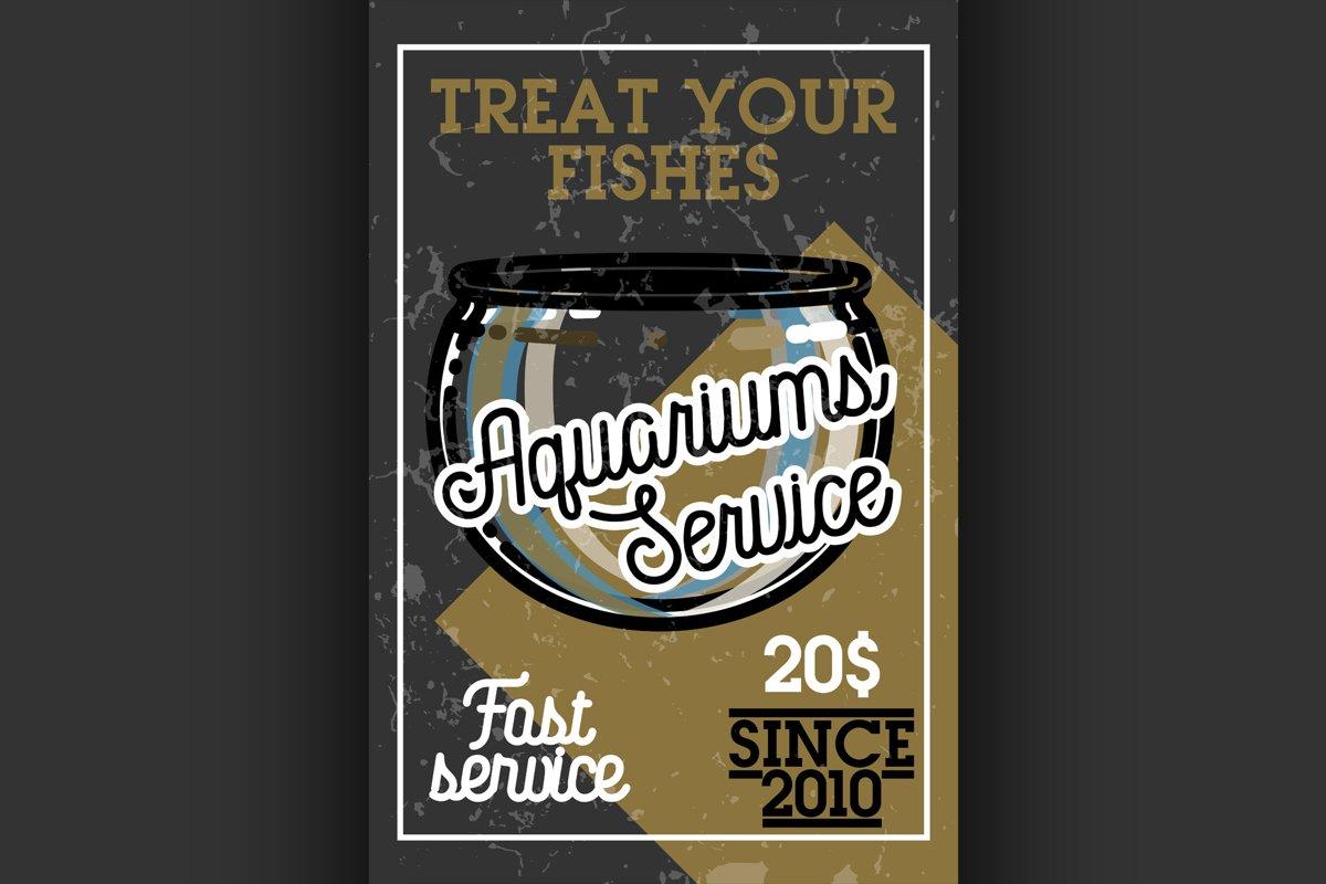 Color vintage aquariums service banner example image 1