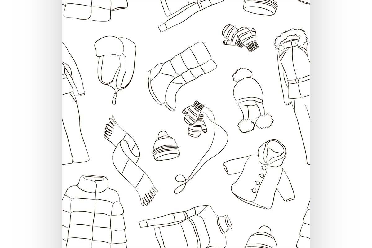 Set of warm winter clothes design pattern example image 1