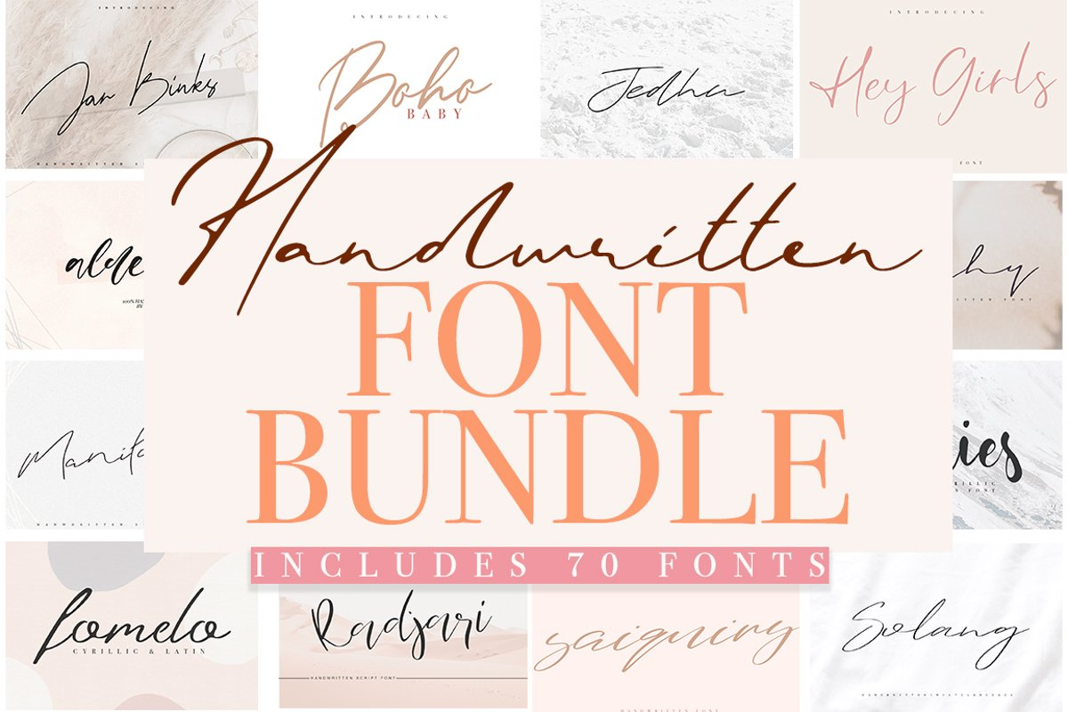 Font Bundle 70 in One example image 1