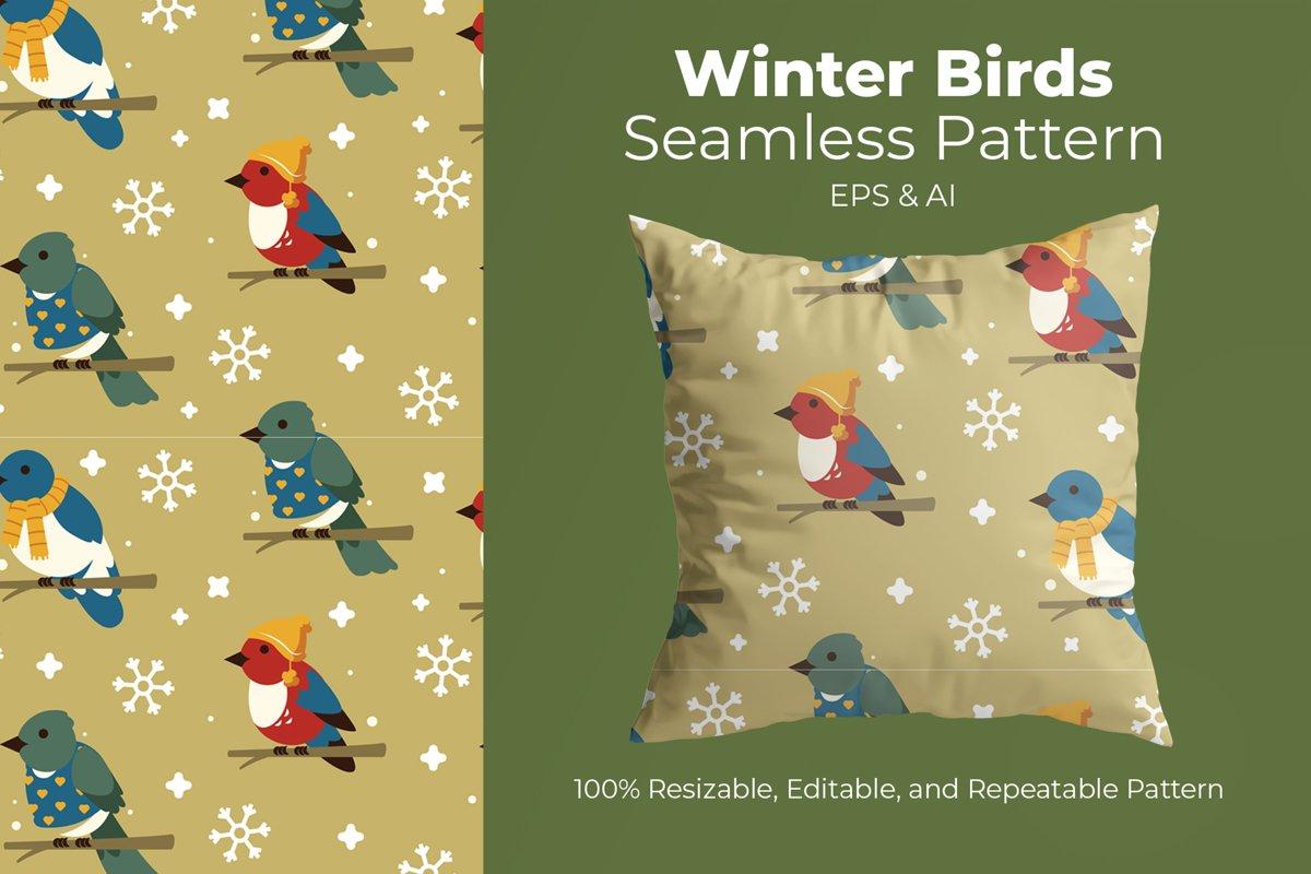 Winter Birds - Seamless Pattern example image 1