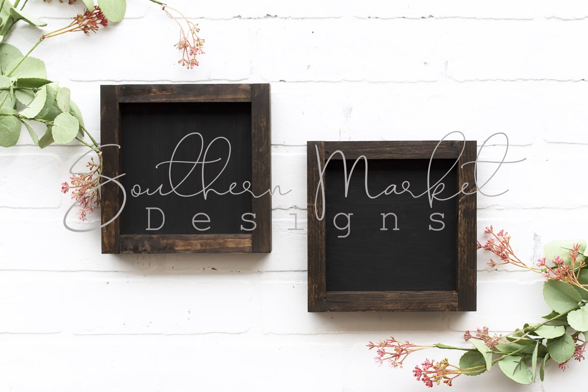 6x6 Wood Sign Mock Up Farmhouse Styled Photo example image 1
