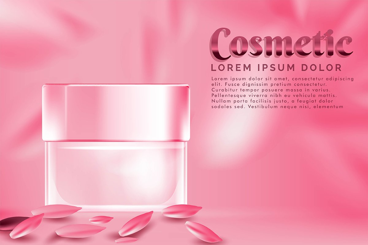 cream jar cosmetic products ad, with pink petal rose backgro example image 1