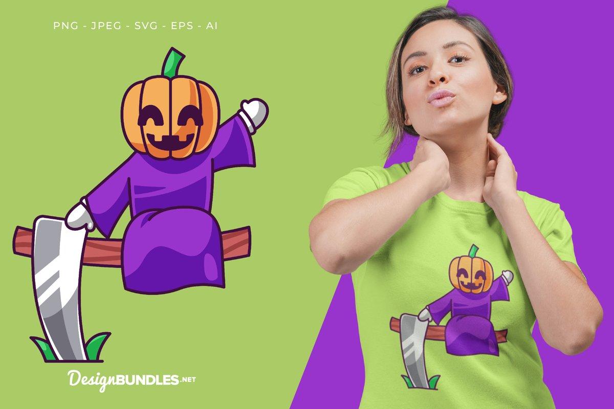 Pumpkin Says Hi Vector Illustration For T-Shirt Design example image 1