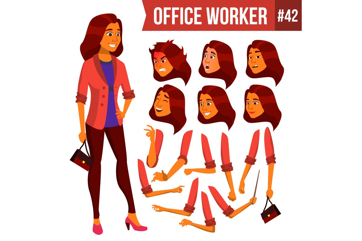 Office Worker Vector. Woman. Professional Officer example image 1