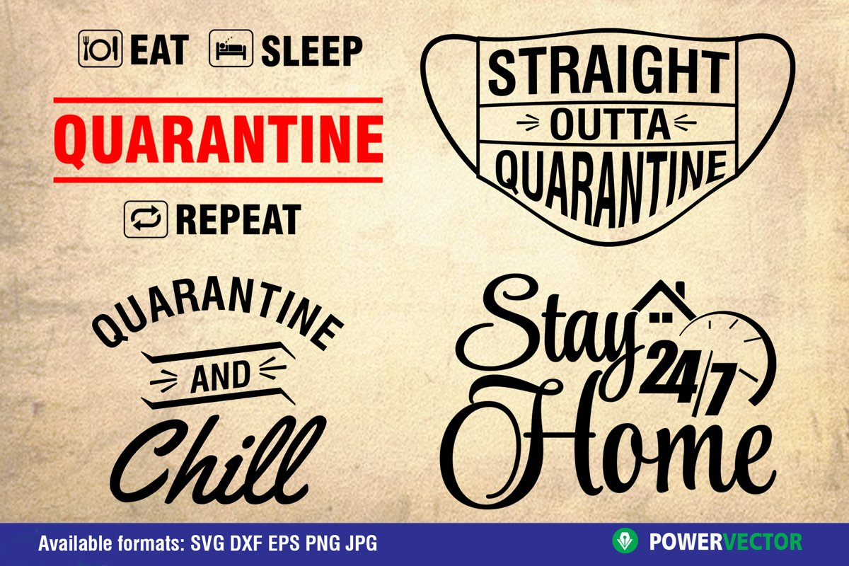Funny Quarantine Sayings SVG DXF EPS PNG Design example image 1