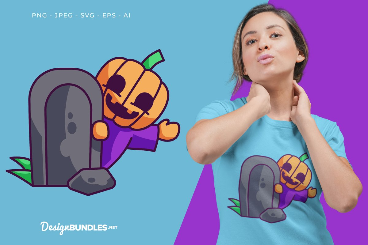 A Pumpkin Behind The Grave Vector Illustration For T-Shirt example image 1