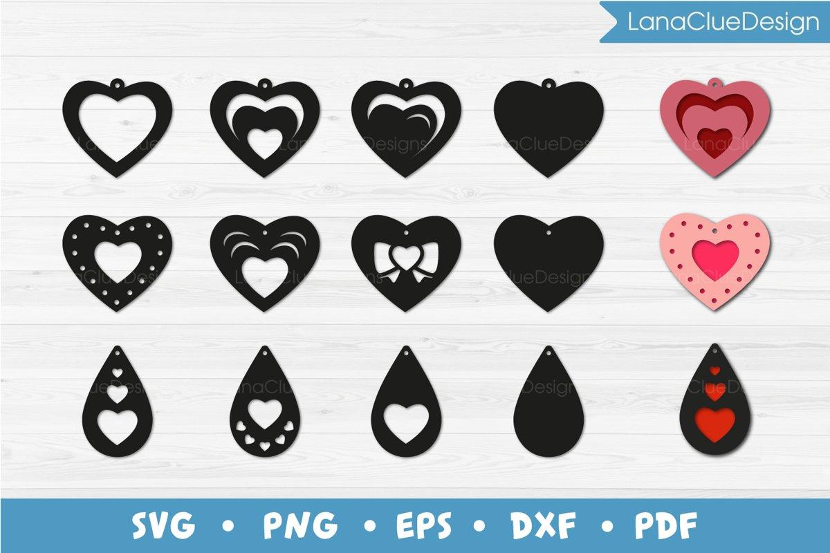 Heart Earrings Bundle SVG Cut Files example image 1