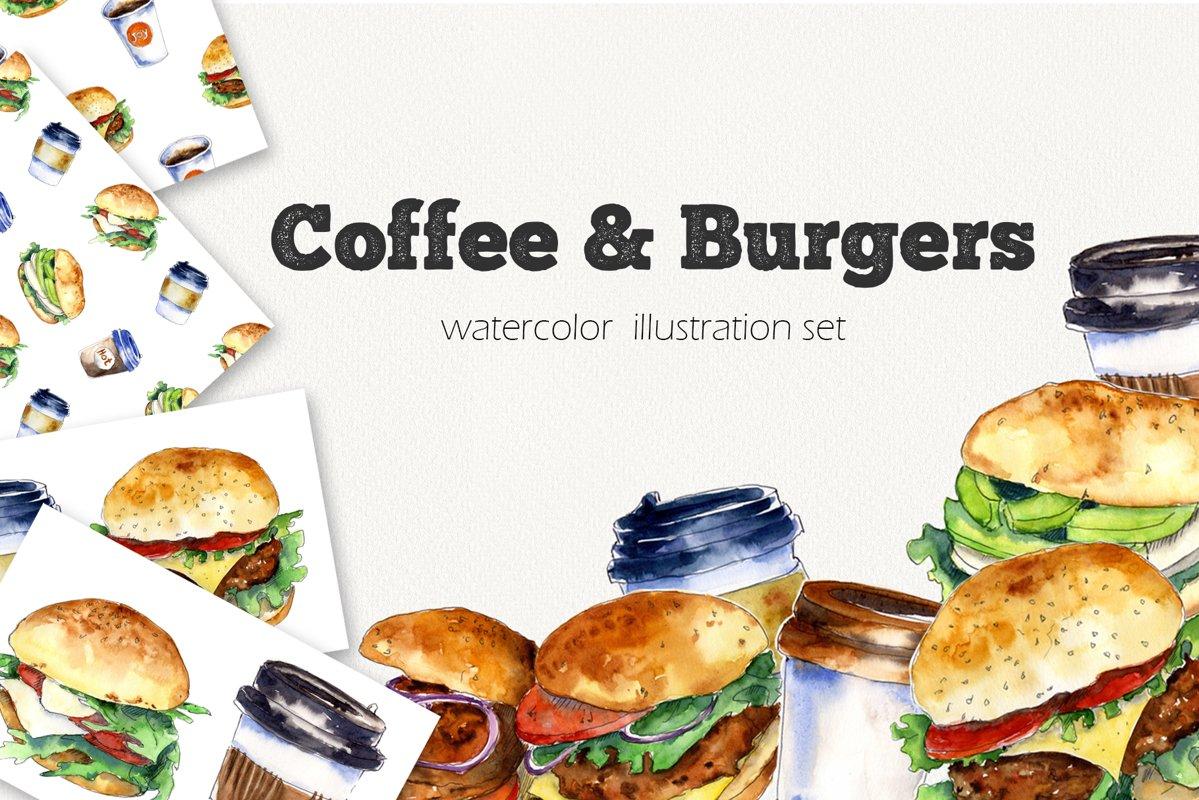 """Coffee&Burgers"" Watercolor set example image 1"
