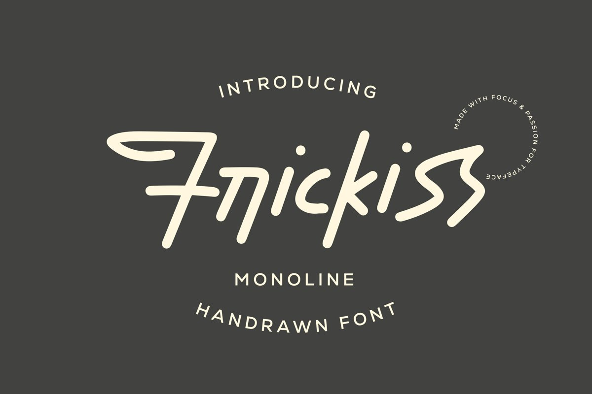 Frickiss - Monoline Handrawn Font example image 1