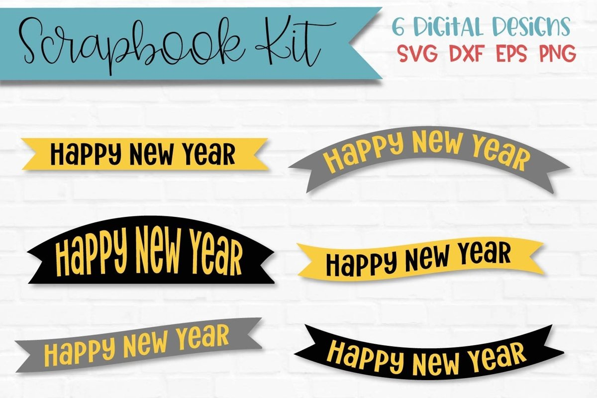 New Year Banners Scrapbook Kit example image 1