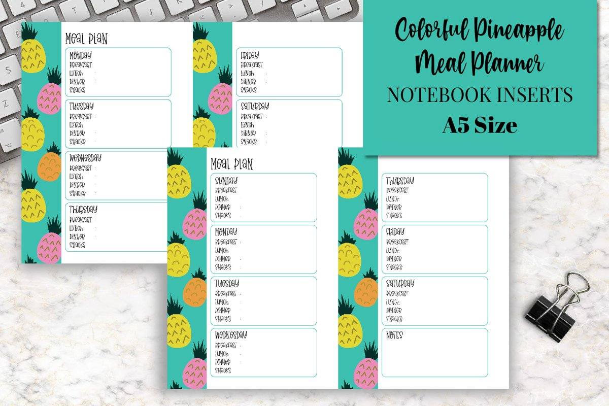 Colorful Pineapple Meal Planners A5 Size Notebook Inserts example image 1