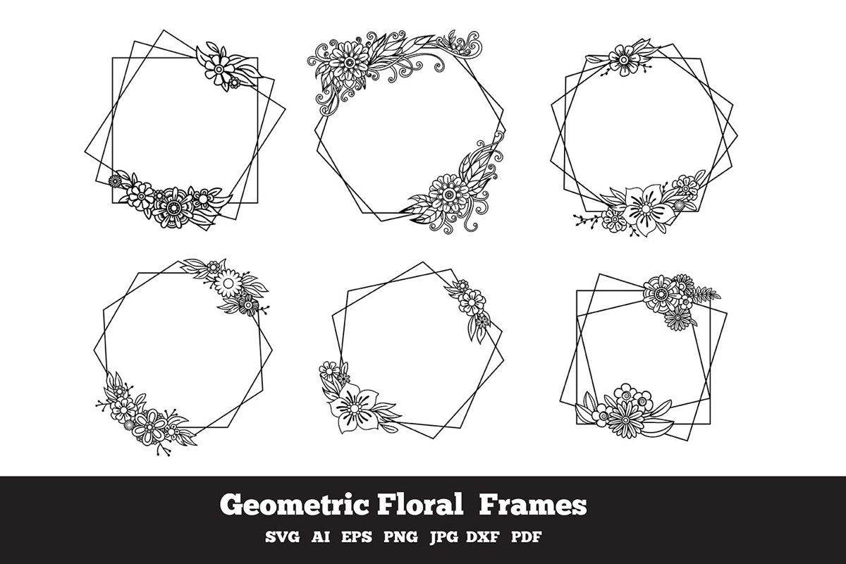 Geometric Floral Frames example image 1
