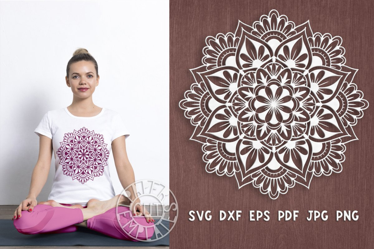 SVG mandala cut file for laser cutting, Cricut, Silhouette. example image 1
