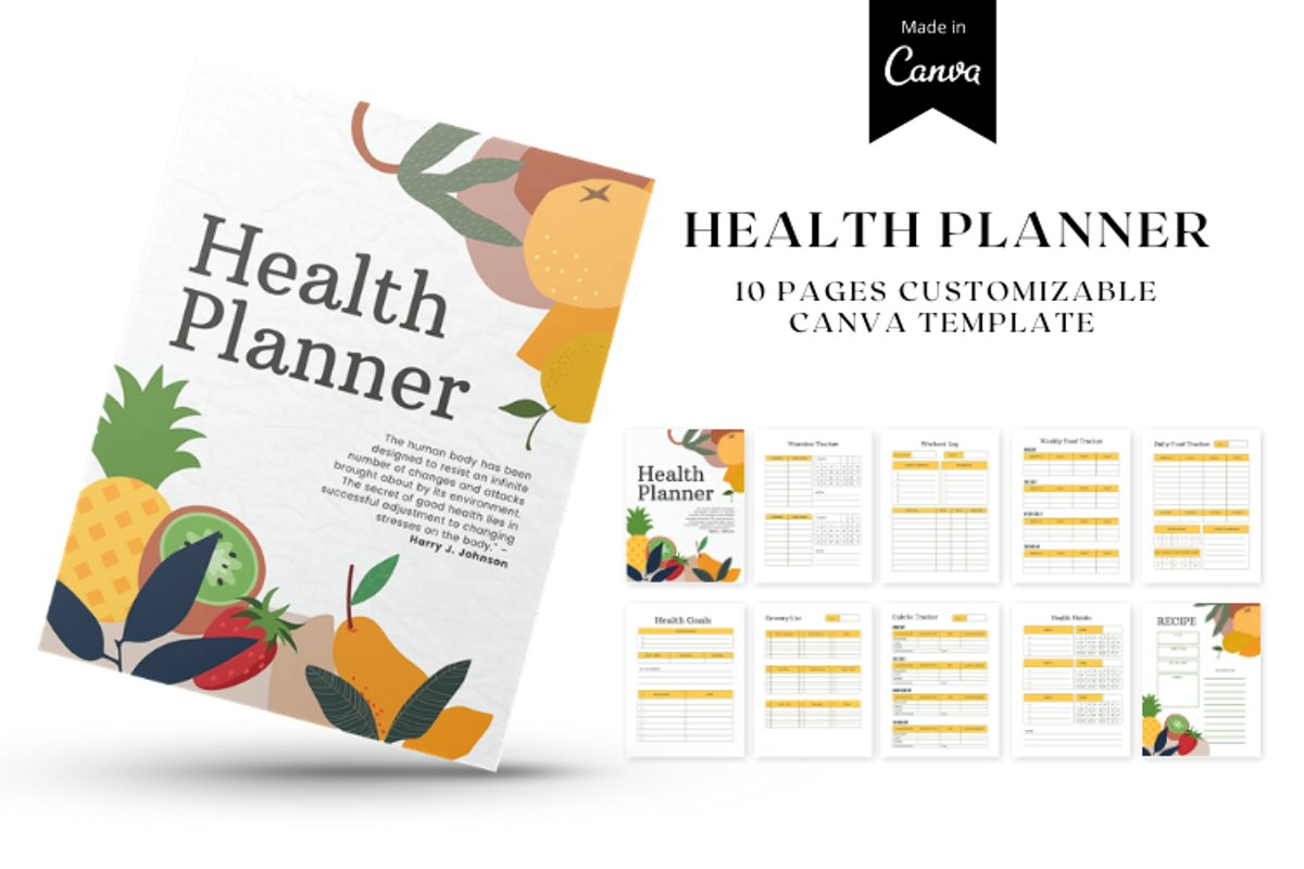 HEALTH PLANNER CUSTOMIZABLE CANVA TEMPLATE example image 1