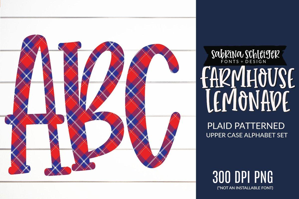Farmhouse Lemonade PNG Plaid Alphabet Clipart example image 1