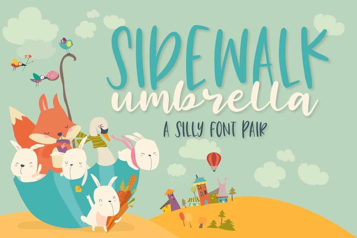 Sidewalk Umbrella - A Script & Print Font Duo - Font Pair example image 1