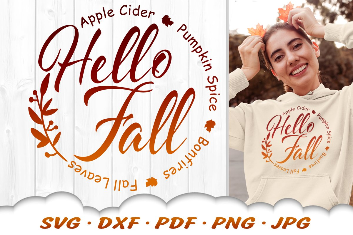 Hello Fall SVG Fall Leaves Wreath SVG DXF Cut Files example image 1