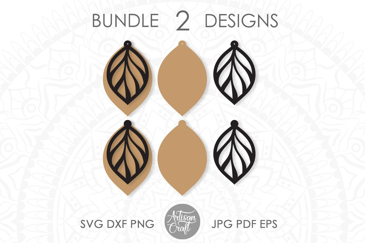 Leaf earring svg, faux leather earrings template example image 1