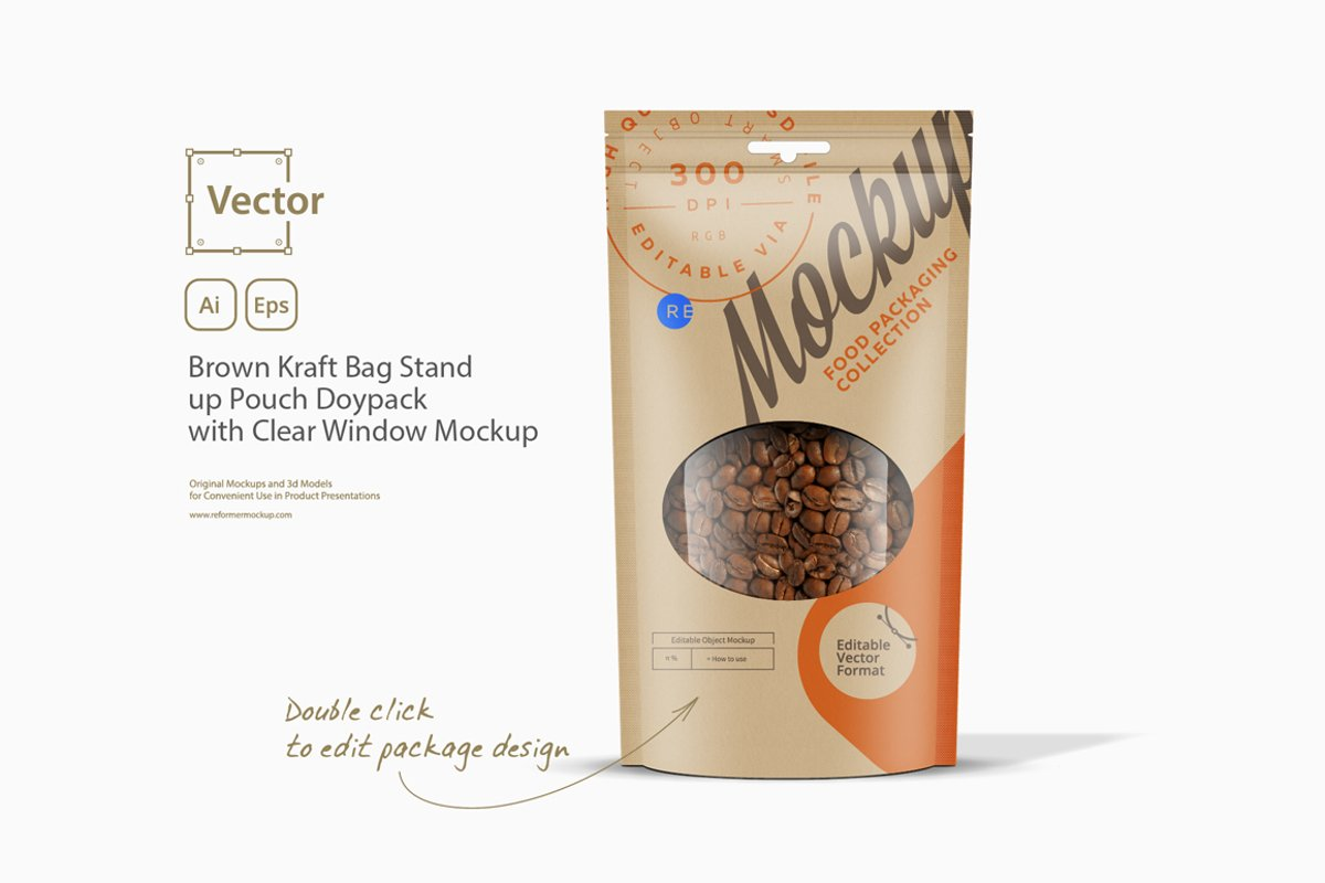 Brown Kraft Bag Stand up Pouch Doypack with Clear Window Moc example image 1