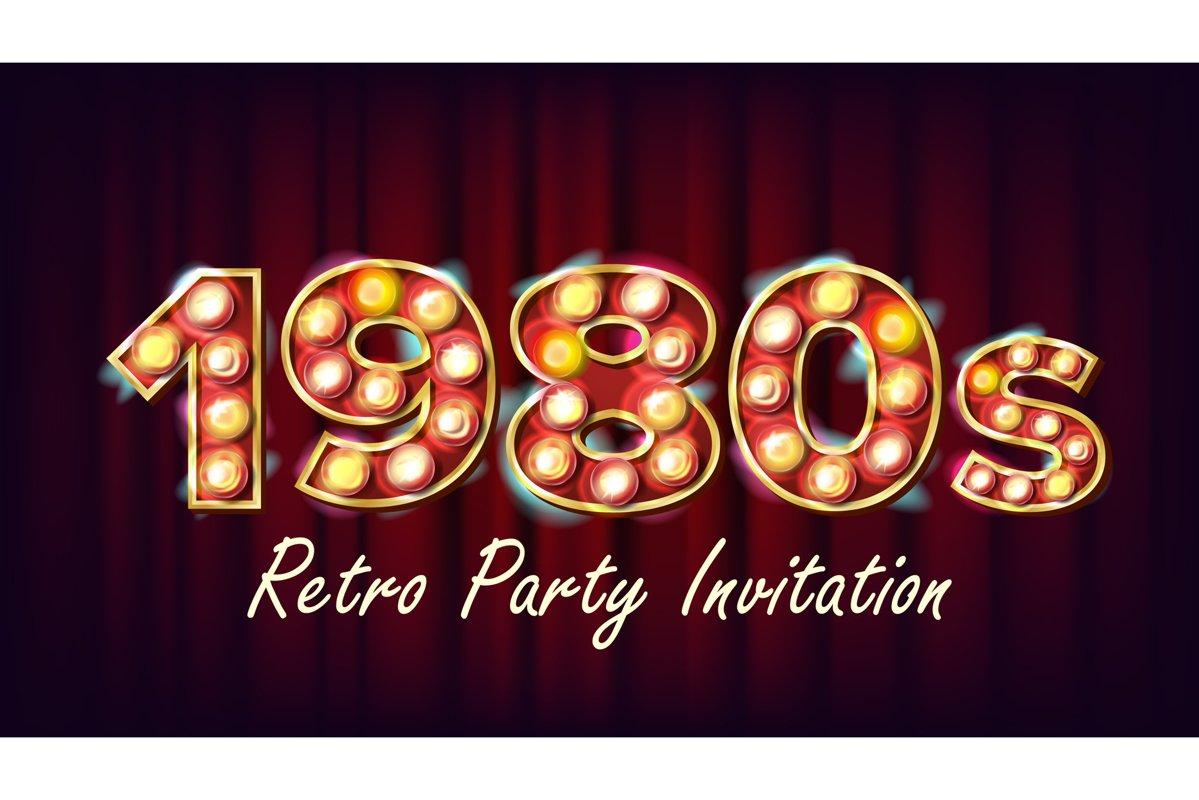 1980s Retro Party Invitation Vector. 1980 Vintage Style example image 1