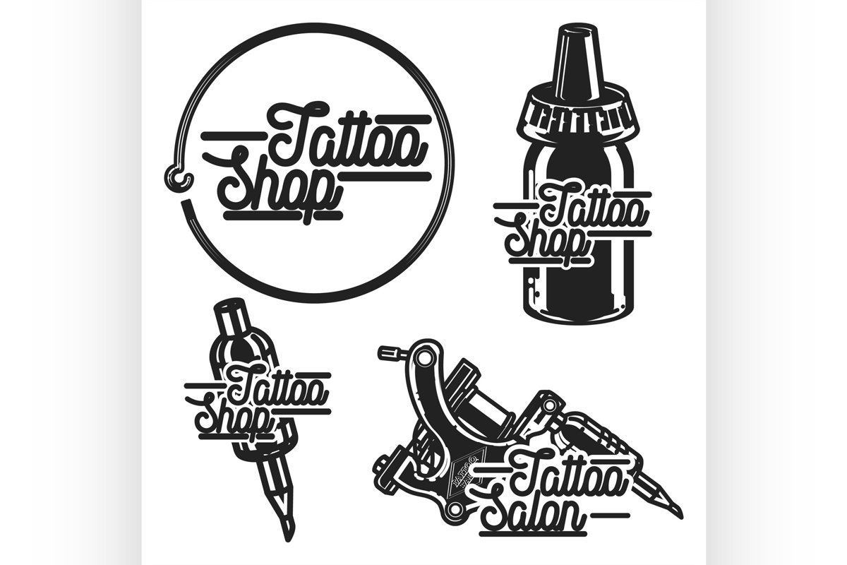 Vintage tattoo shop emblems example image 1