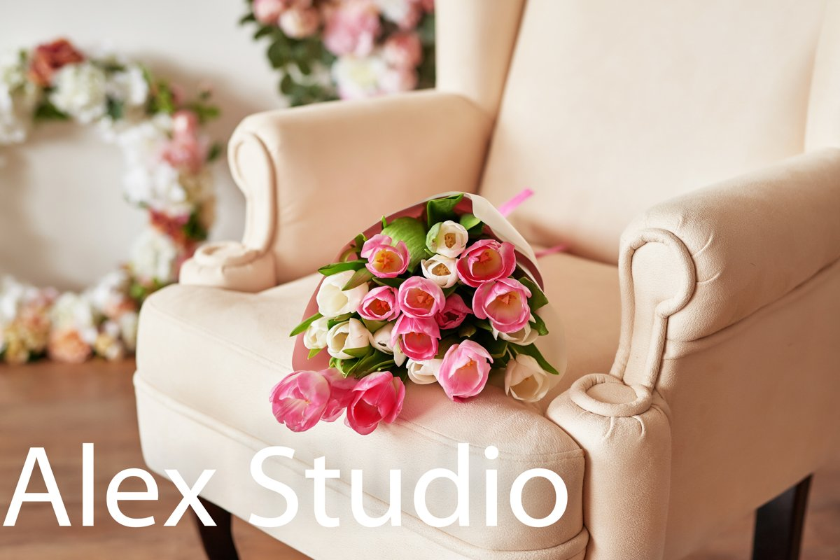 Tulips on floral background on flowers festive background example image 1